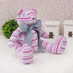 Urso Chevron Rosa com Gravata Chumbo 25cm