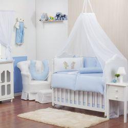 Quarto para Bebê sem Cama Babá Ursinho Travesso Azul