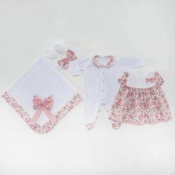 Saída Maternidade Vestido Pituquinha Rosa