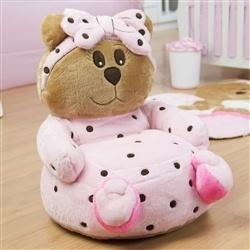 Mini Poltrona de Pelúcia Ursa Baby Rosa