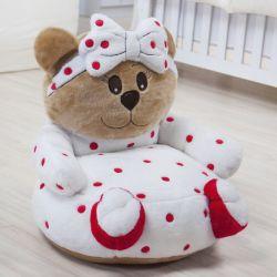 Mini Poltrona de Pelúcia Ursa Baby Vermelha