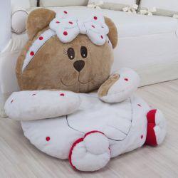 Colchonete de Pelúcia Ursa Baby Vermelha