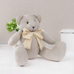 Urso Chambrê Bege com Laço Realeza 34cm