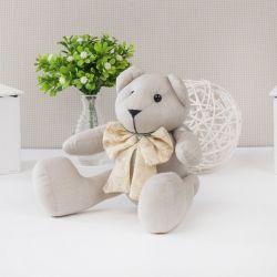Urso Chambrê Bege com Laço Realeza 25cm