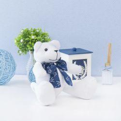 Urso Branco com Gravata Realeza Marinho 25cm