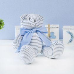 Urso Plush Listrado Azul com Gravata Azul 34cm