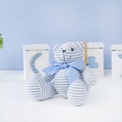 Urso Plush Listrado Azul com Gravata Azul 25cm