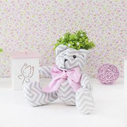 Ursa Chevron Gravata Rosa 25cm