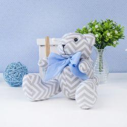 Urso Chevron Gravata Azul 25cm