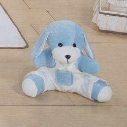 Cachorro Azul com Macacão Branco 33cm