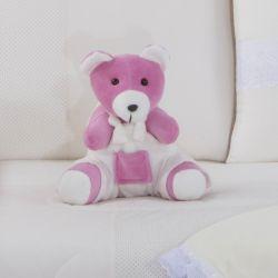 Ursa com Macacão Branco Amigos Baby 33cm