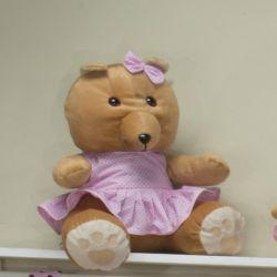 Ursa Requinte Vestidinho Rosa Poá 31cm