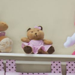 Ursa Requinte Vestidinho Rosa Poá 15cm