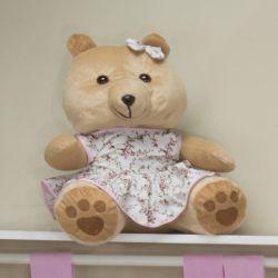 Ursa Requinte Bege com Vestidinho Floral 31cm