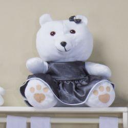 Ursa Branca com Vestidinho de Cetim 31cm