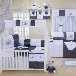 Quarto para Bebê sem Cama Babá Imperial Luxo Cinza
