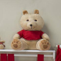 Urso Requinte Bege com Camiseta Vermelha 31cm