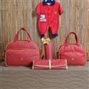 Conjunto de Bolsas Maternidade com Trocador Realeza Vermelho