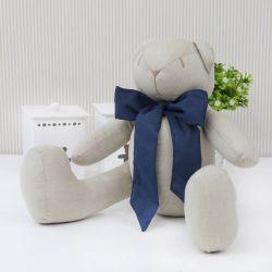Urso Chambrê Bege com Laço Marinho 34cm