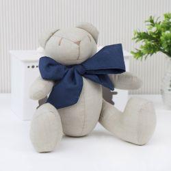 Urso Chambrê Bege com Laço Marinho 25cm