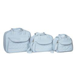 Conjunto de Bolsas Maternidade Chevron Azul Bebê