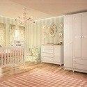 Quarto para Bebê Sol com Berço/Cômoda/Guarda Roupas de 4 Portas