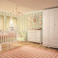 Quarto de Bebê Sol com Berço/Cômoda/Guarda-Roupa de 4 Portas