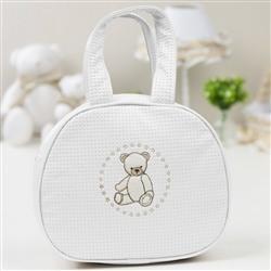 Bolsa Maternidade Teddy Branco c/ Bege