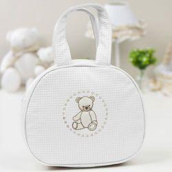 Bolsa Maternidade Teddy Branco c/ Bege 25cm