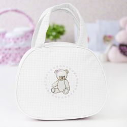Bolsa Maternidade Teddy Branca c/ Rosa 25cm