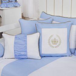 Almofadas Realeza Luxo Azul 3 Peças