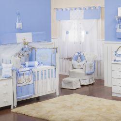 Quarto de Bebê sem Cama Babá Realeza Luxo Azul