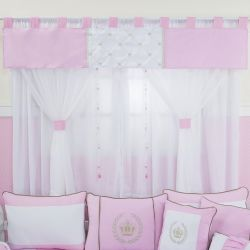 Cortina Realeza Luxo Rosa 1,45m