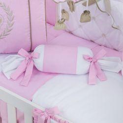 Almofada Apoio Bala Realeza Luxo Rosa 62cm