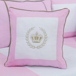 Almofada Bordada Realeza Luxo Rosa 43cm