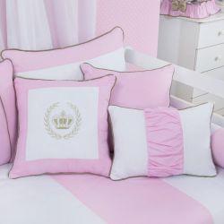 Almofadas Realeza Luxo Rosa 3 Peças