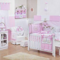 Quarto de Bebê sem Cama Babá Realeza Luxo Rosa