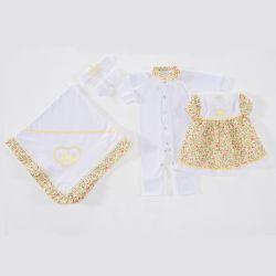 Saída Maternidade Coroa Flor Branco com Amarelo - Tamanho Único