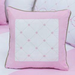 Almofada Bordada Elegance Coroa Rosa 43cm
