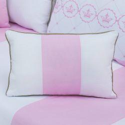 Almofada Retangular Elegance Coroa Rosa 43cm