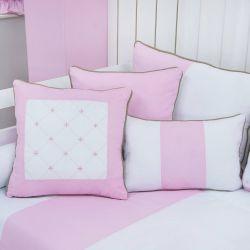 Almofadas Elegance Coroa Rosa 3 Peças