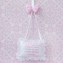 Porta Maternidade Oração Santo Anjo Elegance Coroa Rosa