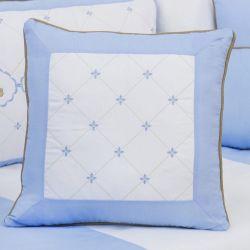 Almofada Bordada Elegance Teddy Azul 43cm