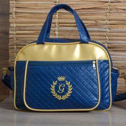 Bolsa Maternidade Milão Inicial do Nome Personalizada Marinho e Dourado 38cm