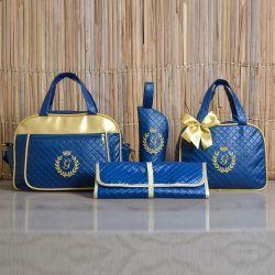 Conjunto de Bolsas Maternidade com Trocador Milão Inicial do Nome Personalizada Marinho e Dourado