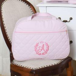 Mala Maternidade Valência Inicial do Nome Personalizada Rosa 42cm