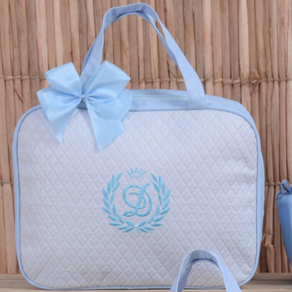 d4cfae84b Mala Maternidade Valência Inicial do Nome Personalizada Azul Bebê ...