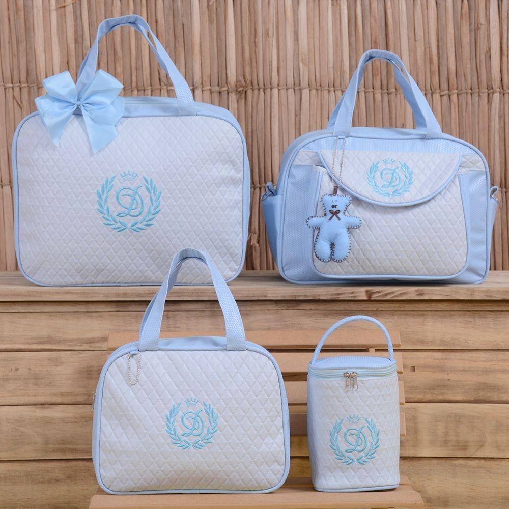 46d6aca37 Conjunto de Bolsas Maternidade Valência Inicial do Nome Personalizada Azul  Bebê