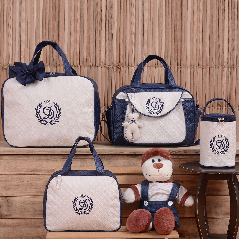 b2446c382 Conjunto de Bolsas Maternidade Valência Inicial do Nome Personalizada  Marinho