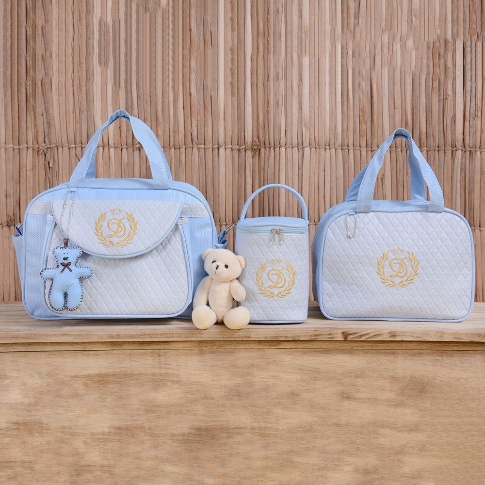 5900a0237 Conjunto de Bolsas Maternidade Valência Inicial do Nome Personalizada Azul  e Dourado